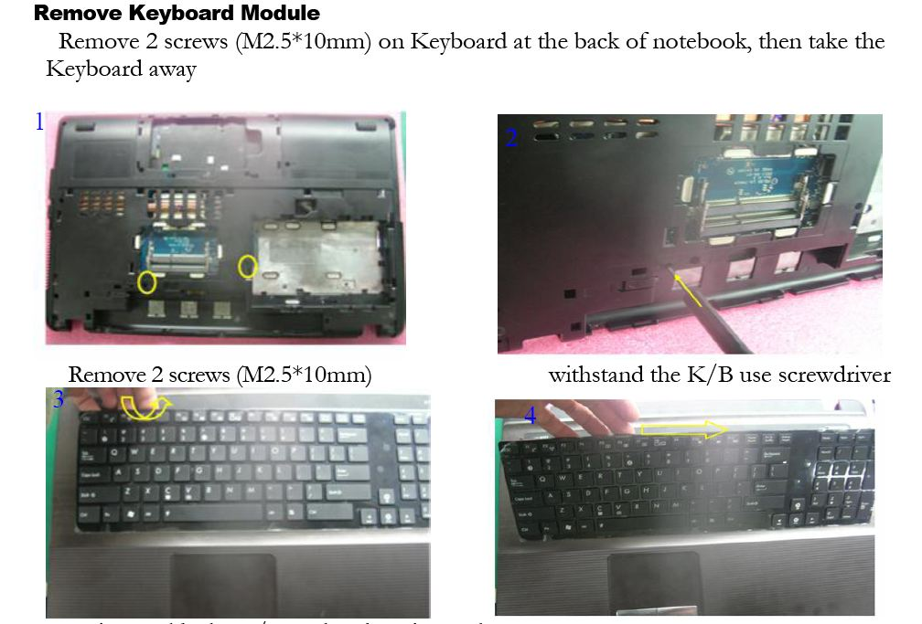 X93sv K93sv Keyboard Dismount For Ram Slots