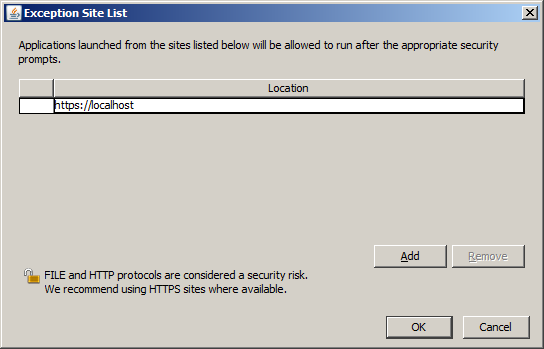 java security add site localhost