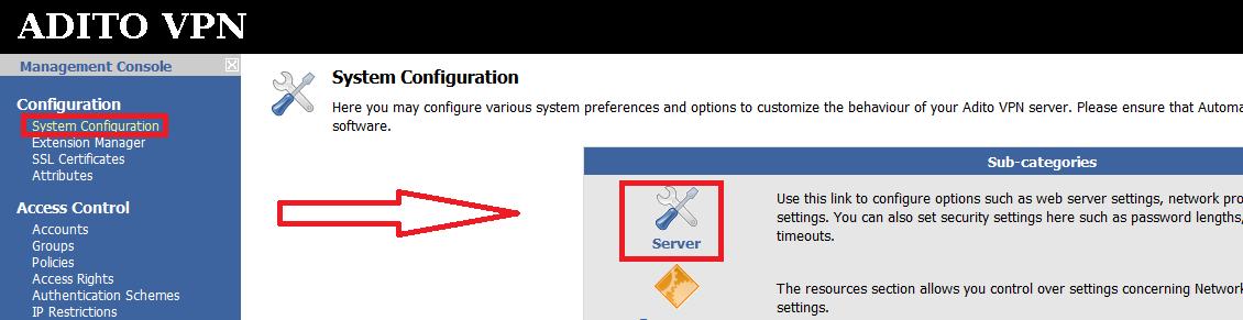 "Press the ""Server"" link under System Configuration"